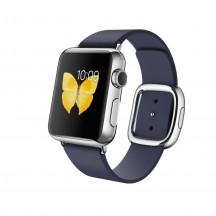 Apple Watch roestvrij staal 38mm middernachtblauw leren bandje moderne gesp