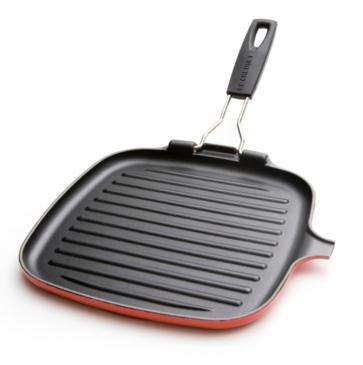 Le Creuset vierkante grill met plooibaar handvat