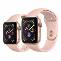 Apple Watch Series 4 goud aluminium met rozenkwarts sportbandje