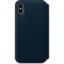 Apple iPhone X leren folio-hoesje kosmosblauw