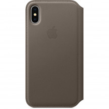 Apple iPhone X leren folio-hoesje taupe