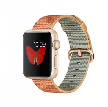 Apple Watch Sport goud alu 38mm goud/rood geweven nylon bandje