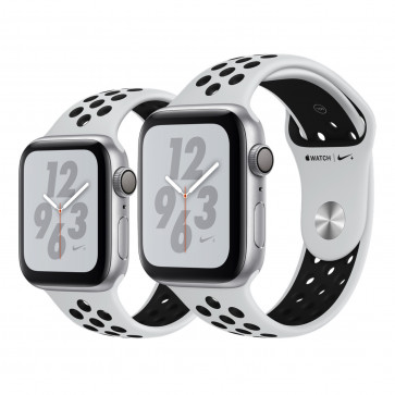 Apple Watch Series 4 Nike+ zilver aluminium met platina/zwart Nike sportbandje