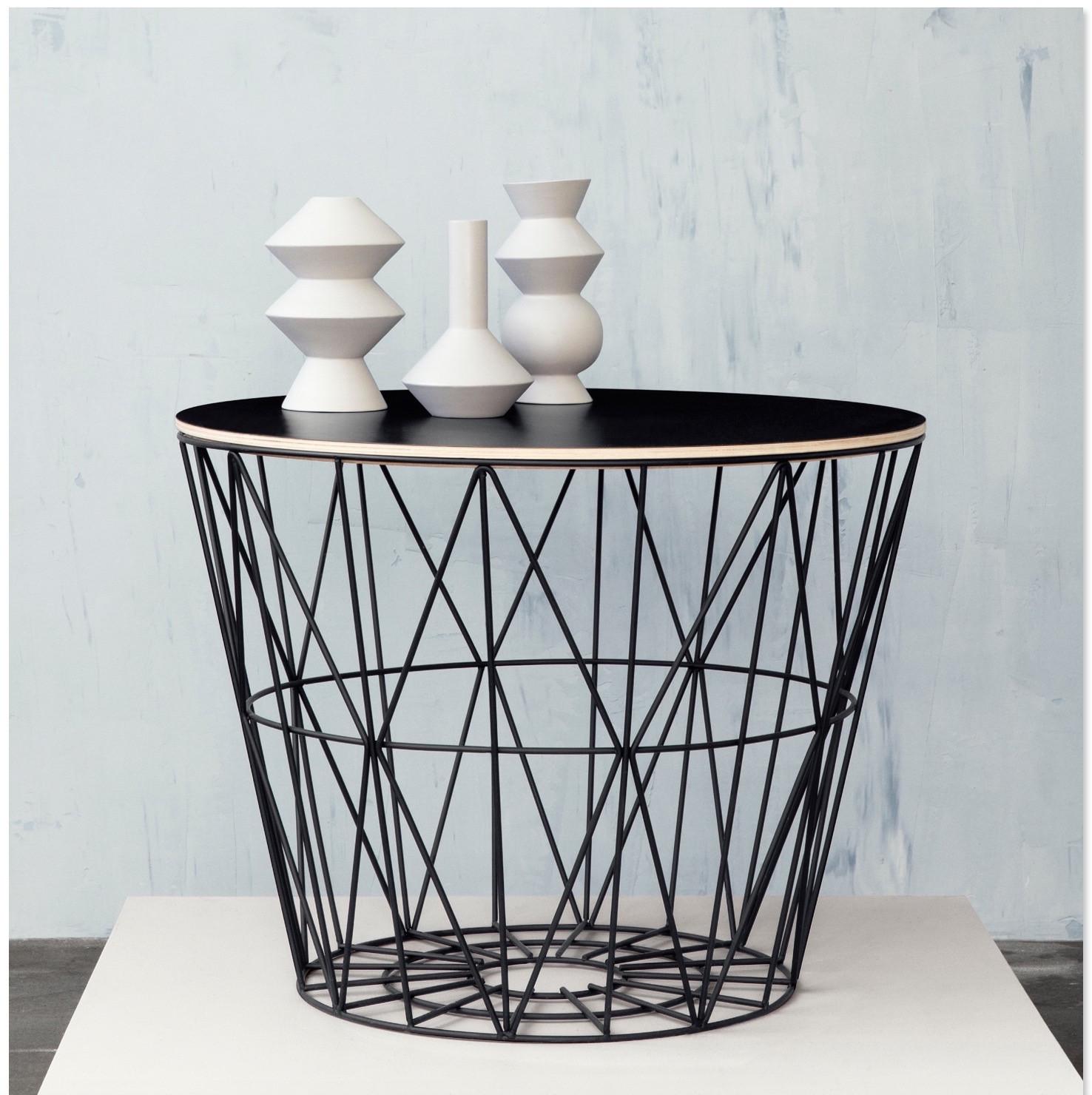 ferm living wire basket table large zwart. Black Bedroom Furniture Sets. Home Design Ideas