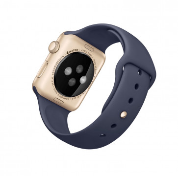 Apple Watch Sport goud alu 42mm middernachtblauw polsbandje