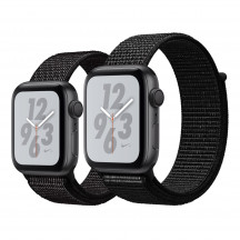 Apple Watch Series 4 Nike+ spacegrijs aluminium met zwart geweven Nike sportbandje