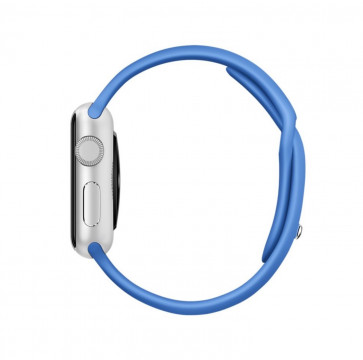 Apple Watch Sport zilver alu 38mm koningsblauw sportbandje