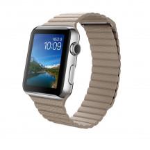 Apple Watch roestvrij staal 42mm steengrijs leren bandje