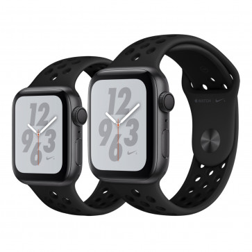 Apple Watch Series 4 Nike+ spacegrijs aluminium met antraciet/zwart Nike sportbandje