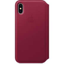Apple iPhone X leren folio-hoesje bessenrood