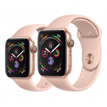 Apple Watch Series 4 goud aluminium met rozenkwarts sportbandje
