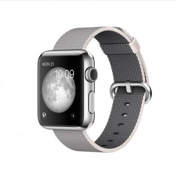 Apple Watch roestvrij staal 38mm parelgrijs geweven nylon bandje