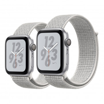 Apple Watch Series 4 Nike+ zilver aluminium met hagelwit geweven Nike sportbandje
