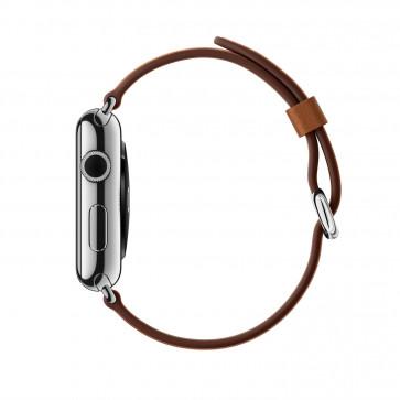 Apple Watch roestvrij staal 38mm zadelbruin bandje klassieke gesp