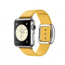 Apple Watch roestvrij staal 38mm okergeel leren bandje moderne gesp