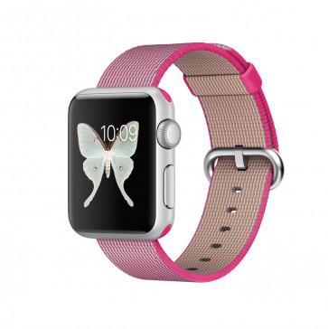 Apple Watch Sport zilver alu 38mm roze geweven nylon bandje