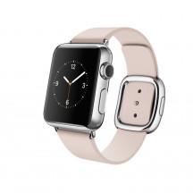 Apple Watch roestvrij staal 38mm zachtroze leren bandje moderne gesp