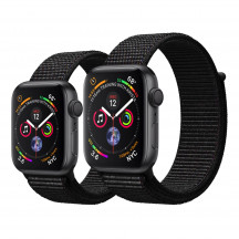 Apple Watch Series 4 spacegrijs aluminium met zwart geweven sportbandje