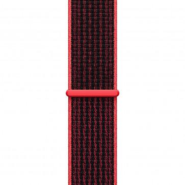 Apple Watch Geweven sportbandje van Nike helder karmozijnrood/zwart