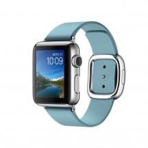 Apple Watch roestvrij staal 38mm ijsblauw leren bandje moderne gesp