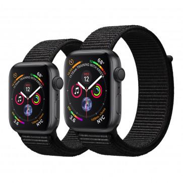 Apple Watch Series 4 spacegrijs aluminium met zwart geweven sportbandje
