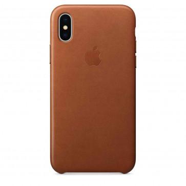 Apple iPhone X leren hoesje zadelbruin