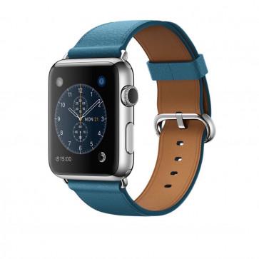 Apple Watch roestvrij staal 42mm marineblauw leren bandje klassieke gesp