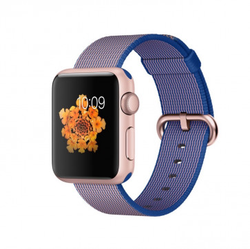 Apple Watch Sport roségoud alu 38mm koningsblauw geweven nylon bandje