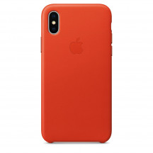 Apple iPhone X leren hoesje feloranje