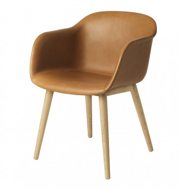 Muuto Fiber Armchair Wood Base leder