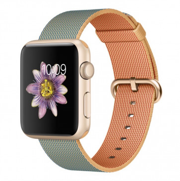 Apple Watch Sport goud alu 42mm goud/koningsblauw geweven nylon bandje