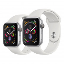 Apple Watch Series 4 zilver aluminium met wit sportbandje