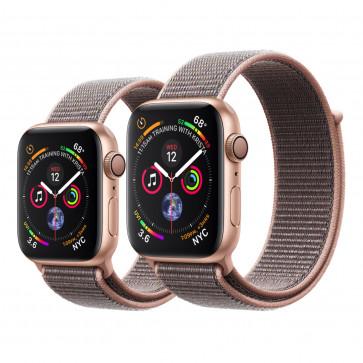Apple Watch Series 4 goud aluminium met rozenkwarts geweven sportbandje