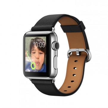 Apple Watch roestvrij staal 38mm zwart bandje klassieke gesp