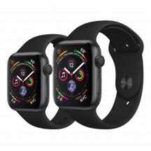 Apple Watch Series 4 spacegrijs aluminium met zwart sportbandje