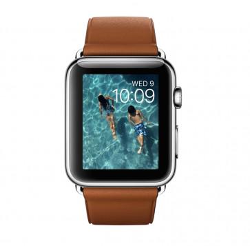 Apple Watch roestvrij staal 42mm zadelbruin bandje klassieke gesp